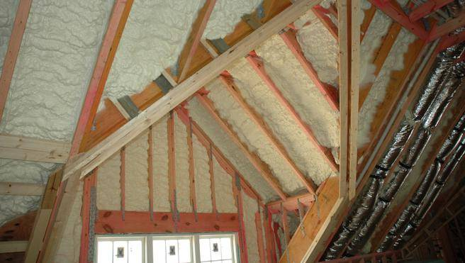 Spray Foam insulation cathedral ceilings.