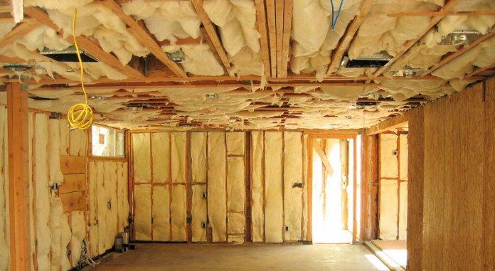 Interior wall spray foam insulation