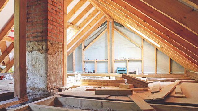 Spray Foam insulation in an attic.